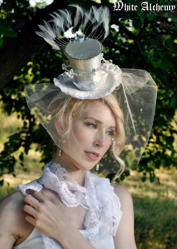 4a94fba5ee5f6 Bridal Couture - Wedding Tiny Top Hat   Crown - wtih Veil - Steampunk    Edwardian Facinator white   off white  125.00
