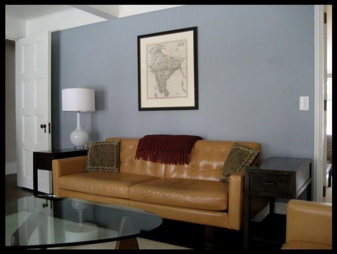 Benjamin Moore November Skies Bachelor Pad Living Room