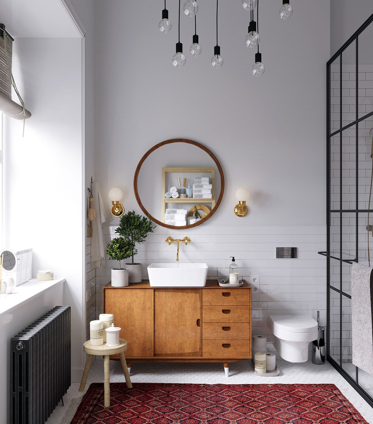 5 Gorgeous Scandinavian Bathroom Ideas: Earthy Eclectic Scandinavian Style Interior