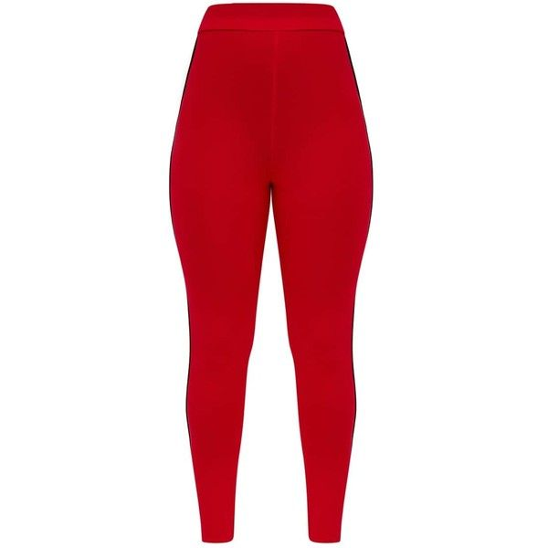 680efd23fa7ae Red Track Stripe Stirrup Leggings ($20) ❤ liked on Polyvore featuring pants,  leggings, legging pants, red trousers, stirrup leggings, red leggings and  ...