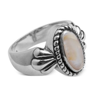Sterling and Mother of Pearl Twist Rope Ring