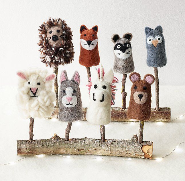 Handmade Wool Felt Animal Finger Puppet Set - Woodland Animals #felttoys