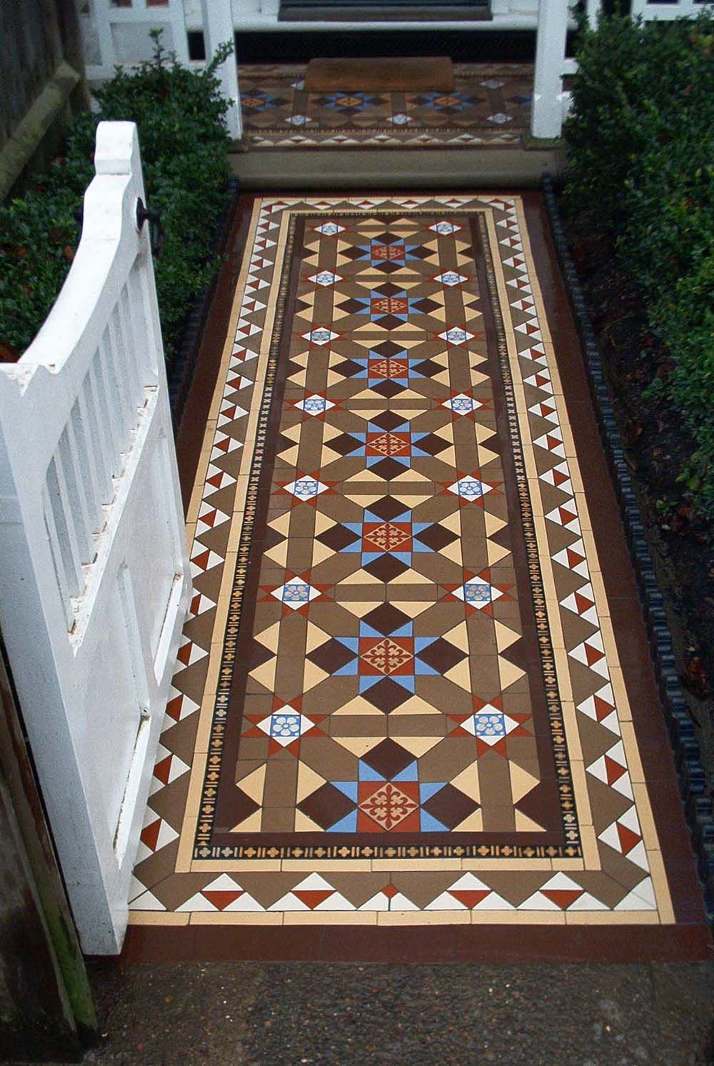 Multicoloured Victorian mosaic path