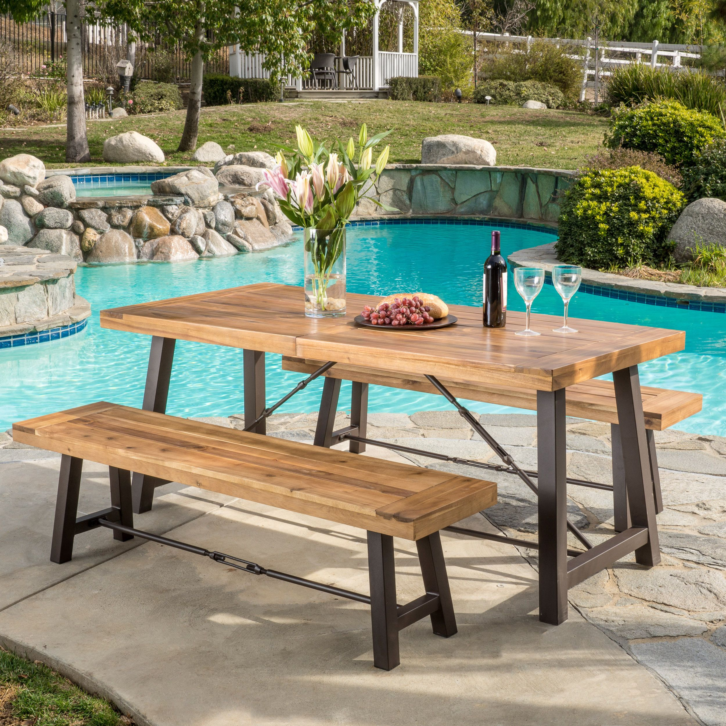 Outdoor puerto acacia wood 3 piece picnic dining set by christopher knight home brown with grey finish size 3 piece sets patio furniture