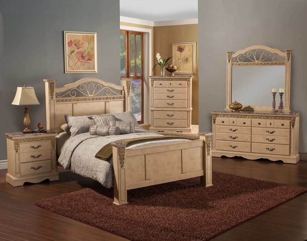 STYLE: 17600 BELLADONNA PALACE WHITE WASH FINISH  7 PC BEDROOM SET ALSO  AVAILABLE IN