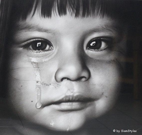 Sale crying girl charcoal pencil drawing portrait by siamstyles 250 00