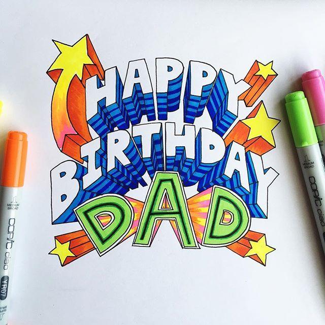 Michelle Eat Pray Pedal On Instagram Made My Dad A Birthday Card Happy Birthday Dad Birthdays L Happy Birthday Drawings Happy Birthday Fun Dad Birthday