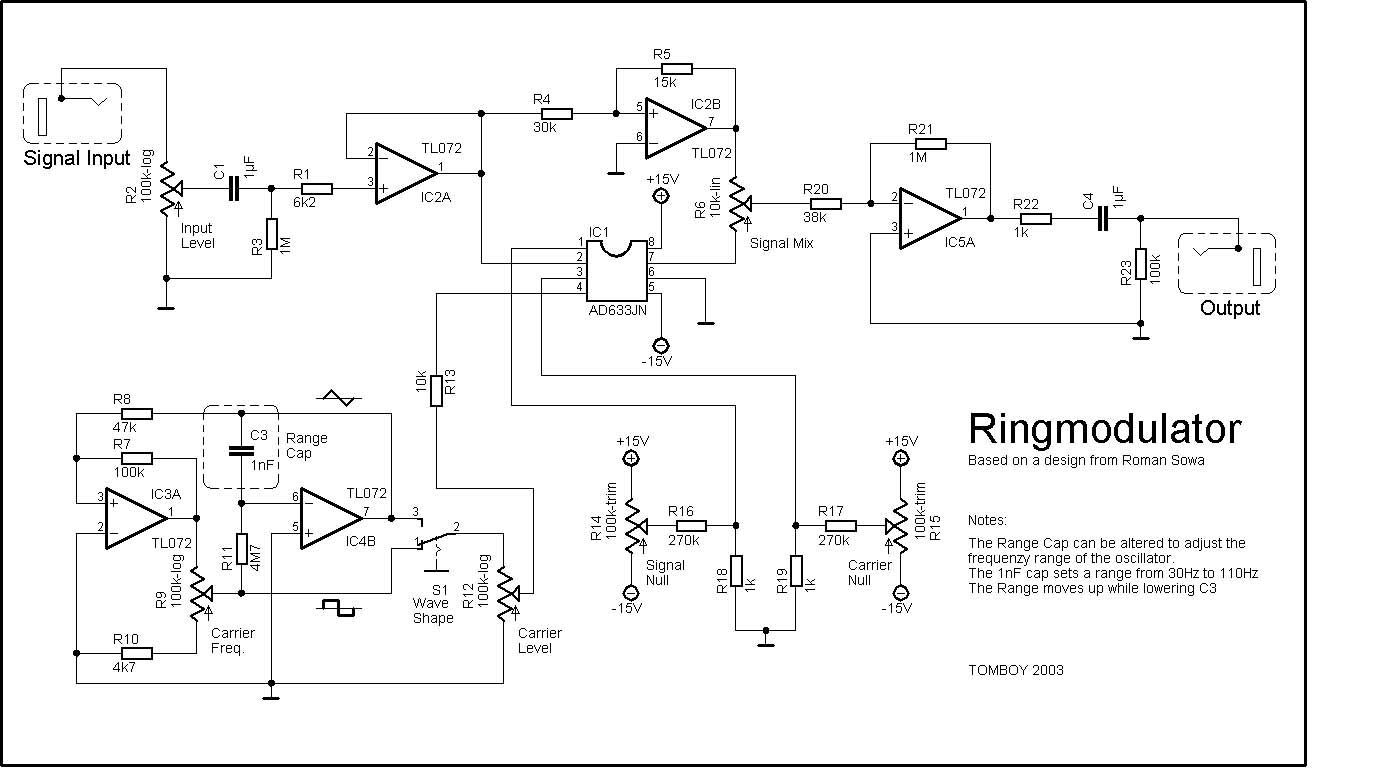 hight resolution of ring modulator effect pedal schematic