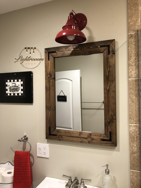 Dark walnut farmhouse mirror country wood frame mirror