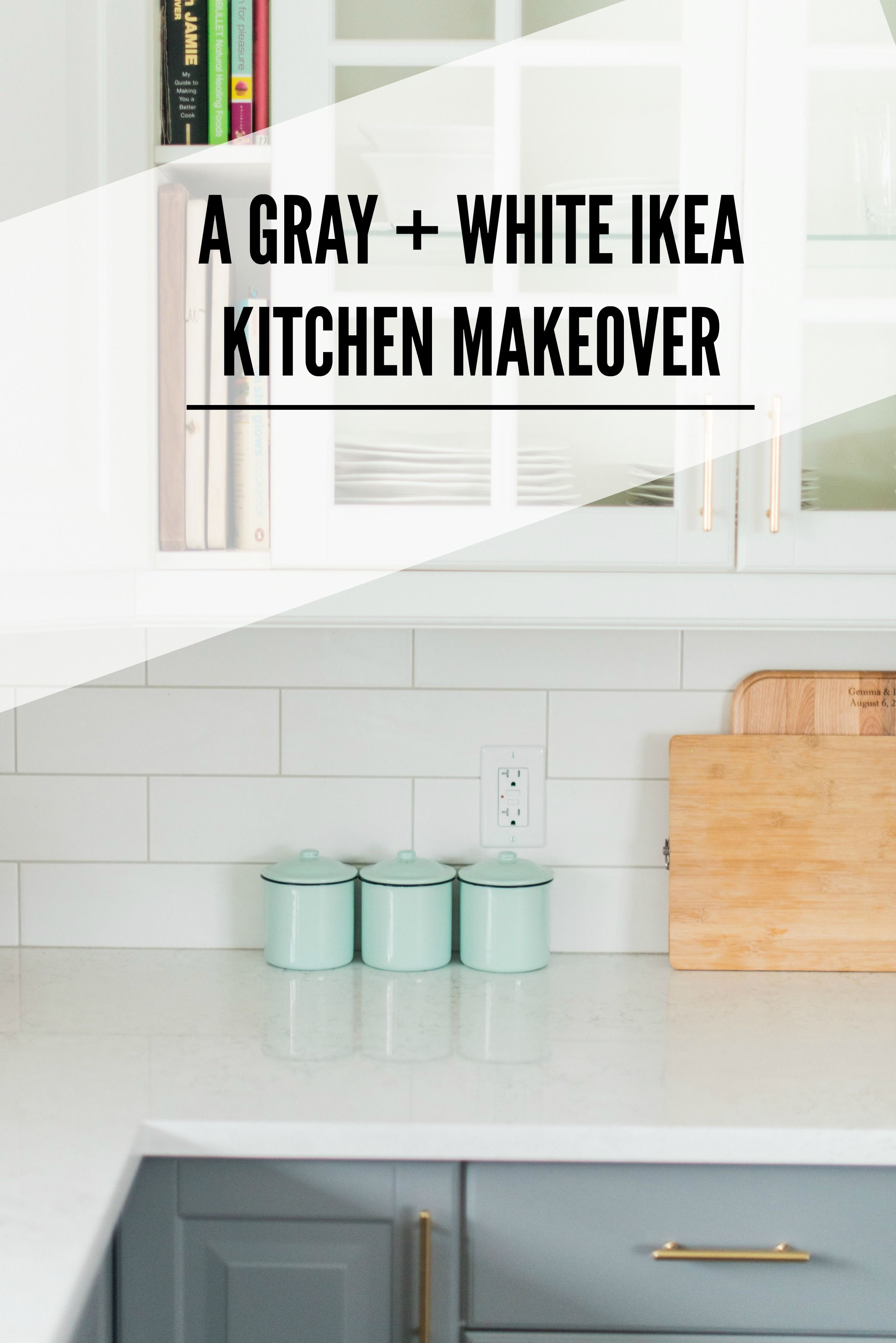 A Gray And White Budget Friendly Kitchen Makeover Using IKEA Cabinetry,  Marble Like Quartz Countertops