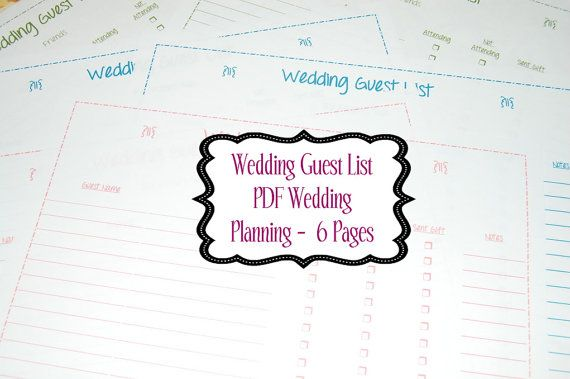 instant download wedding guest list pdf wedding planning 6 pages