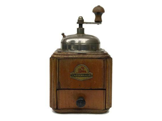 Vintage Zassenhaus Coffee Grinder Wooden Coffee Mill Zassenhaus Record 540 With Plastic Drawer