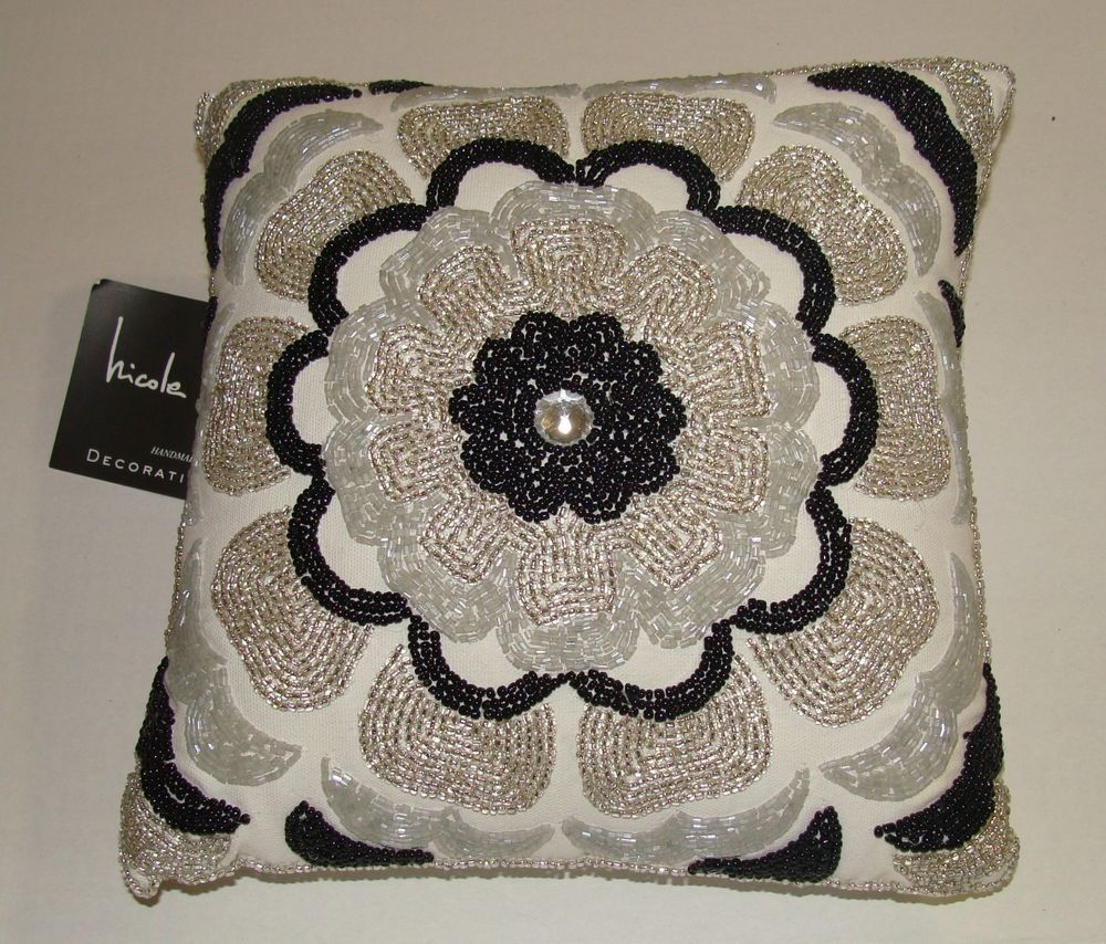 Black Beaded Throw Pillow : NICOLE MILLER Home Black/White Glass Beaded Designer Throw Pillow Handmade INDIA Home, UX/UI ...