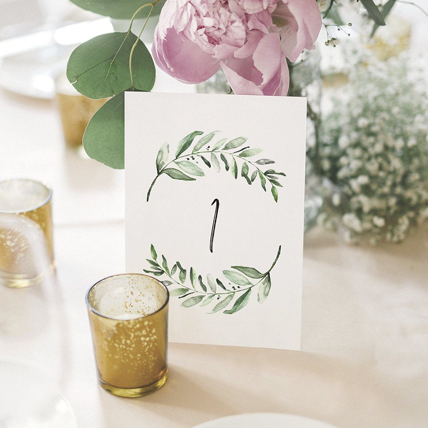 PRINTED Greenery Wedding Table Numbers, Centerpiece