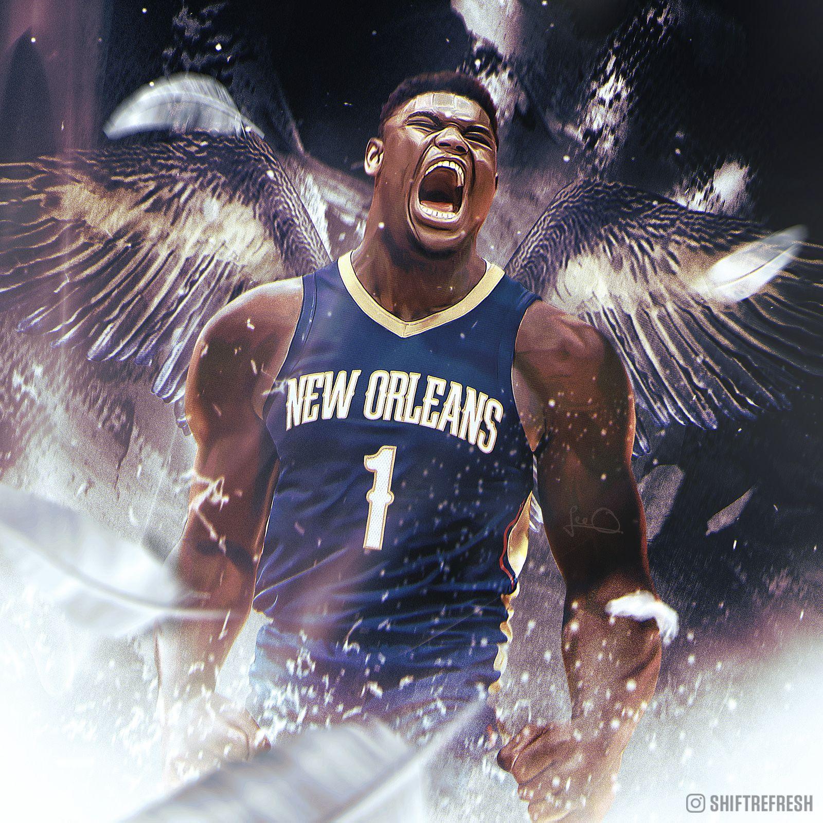 Zion Williamson New Orleans Pelicans Shiftrefresh Nba Basketball Art Best Nba Players Nba Art