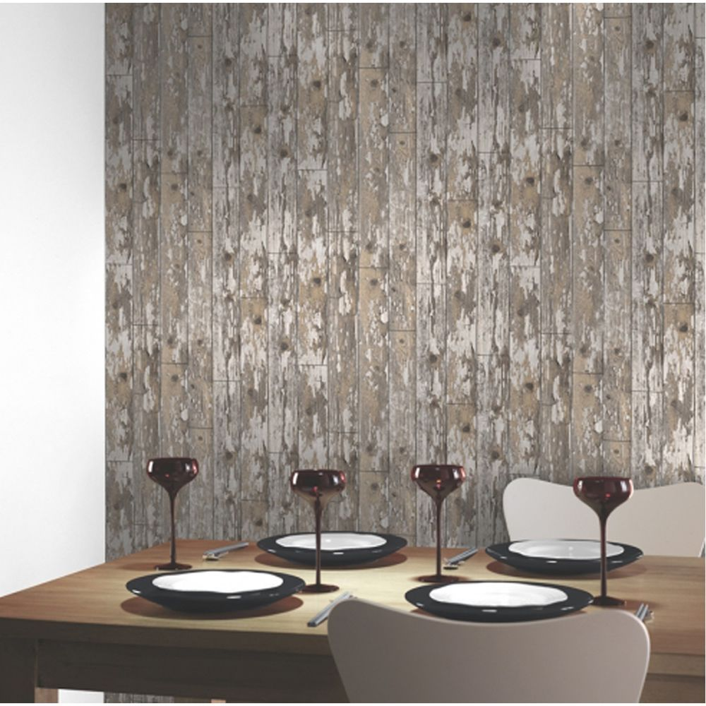 Arthouse Cabin Wood Panel Distressed Effect Wallpaper 622009