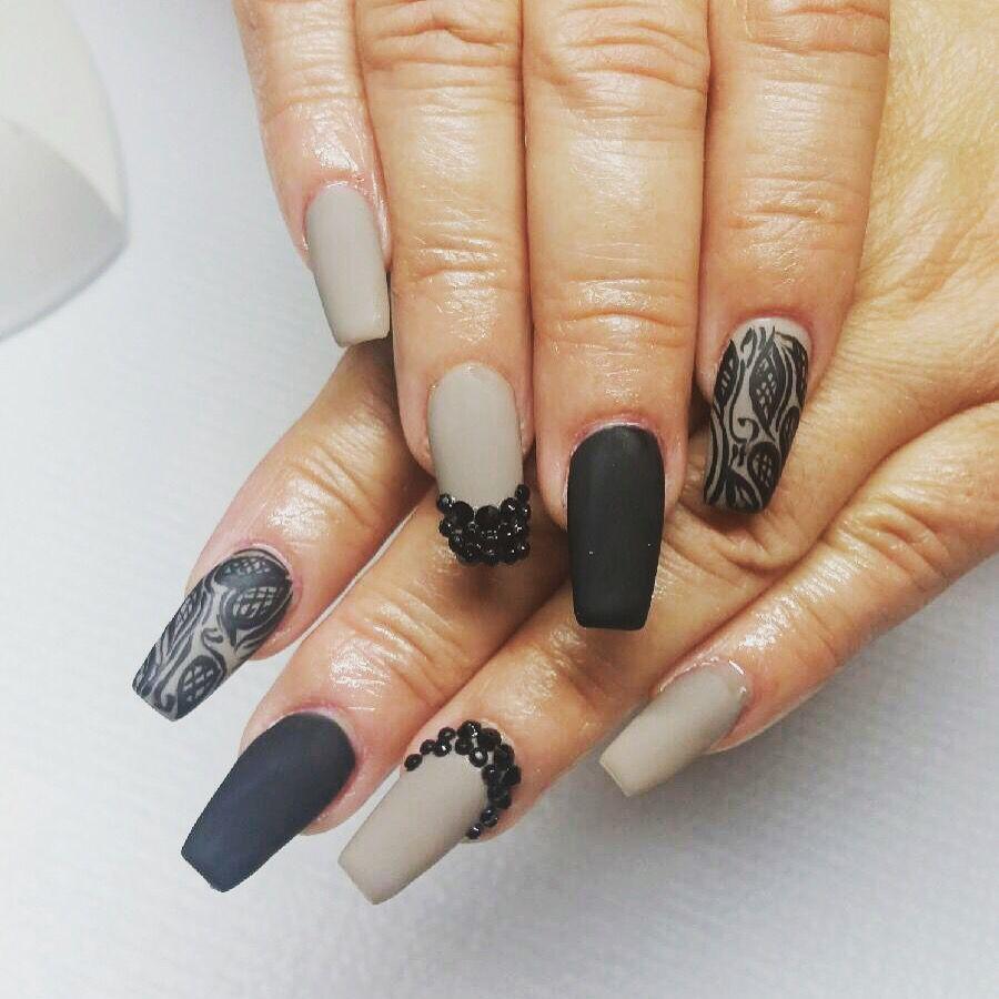 Coffin shape nails matte taupe/gray black stones | Nails ...