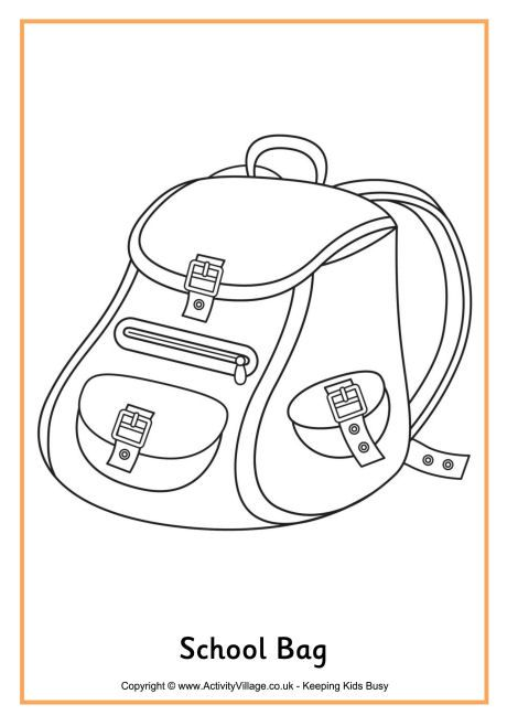 School Bag Colouring Page Meo