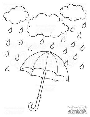 Rainy Day Umbrella Free Printable Coloring Page karma Pinterest