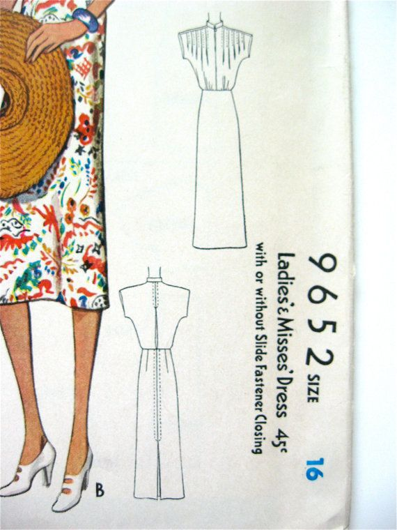 Vintage 1930s sewing pattern by McCall 9652. Bust 34 di Fancywork