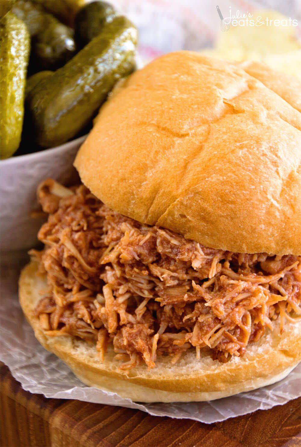 Crock Pot Smokey Bbq Shredded Chicken Sandwiches Easy Shredded Chicken Sandwiches In Your Slow