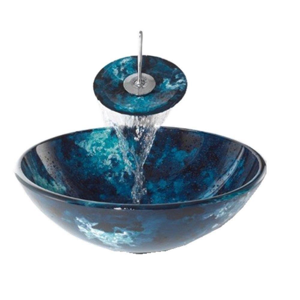 Bathroom Artistic Blue Glass Vessel Vanity Sink U0026 Waterfall Faucet W Drain 4036 Ebay