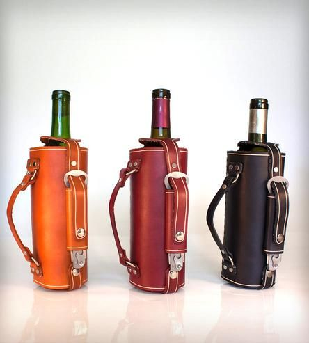 Leather Wine Bottle Carrier with Opener.