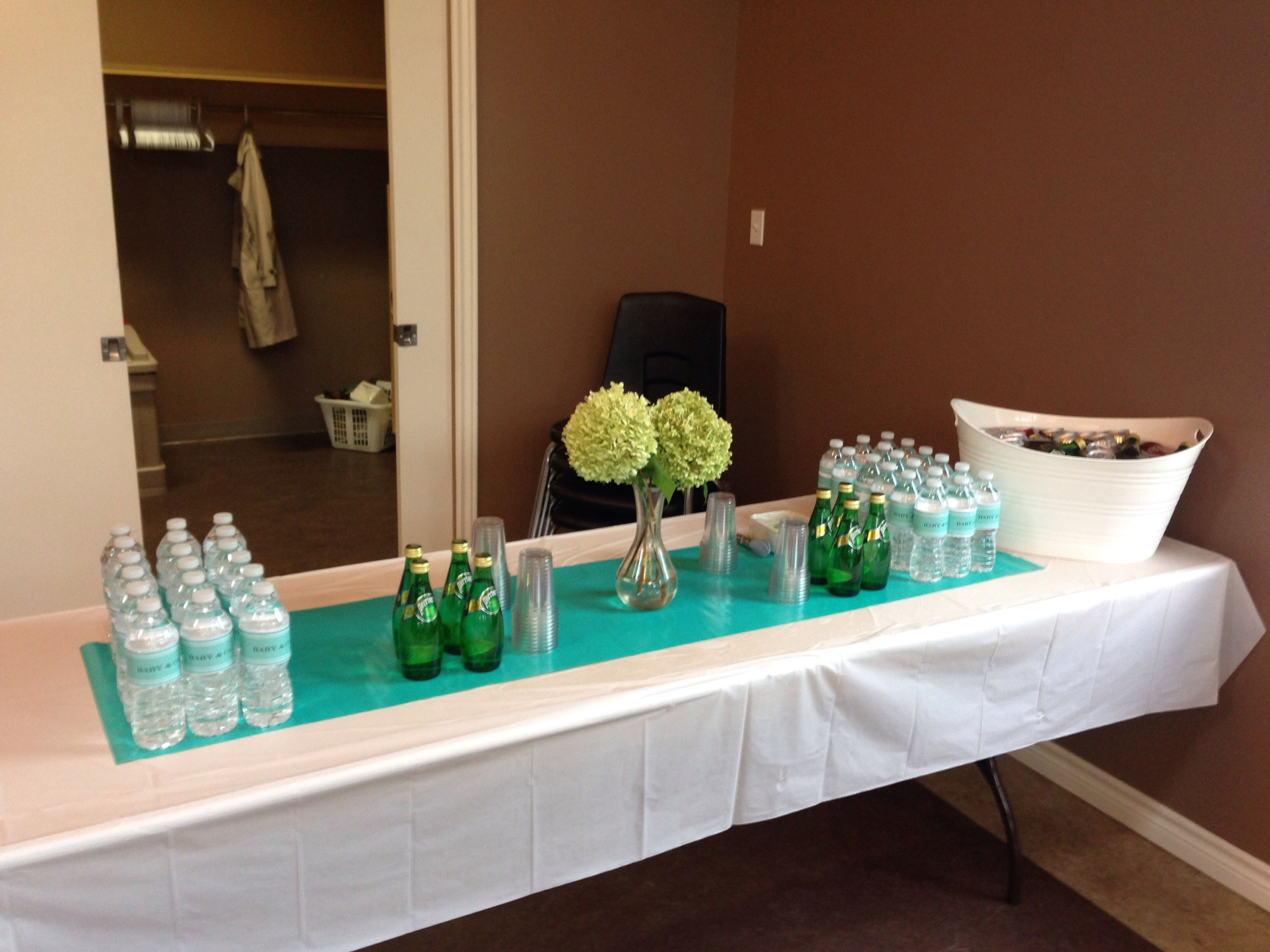 Drink Table, Tiffany Blue Wrapping Paper Table Runner And Simple Hydrangeas.