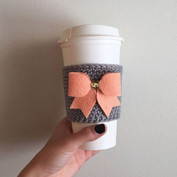 Peach Bow with Gold Crochet Coffee Cozy Gifts for Her Sister