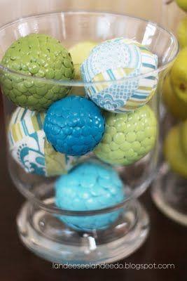 Decoratives balls made with styrofoam balls and thumb tacks and spray painted