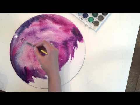 Simple Watercolor Painting Galaxy Trees For Beginners Youtube