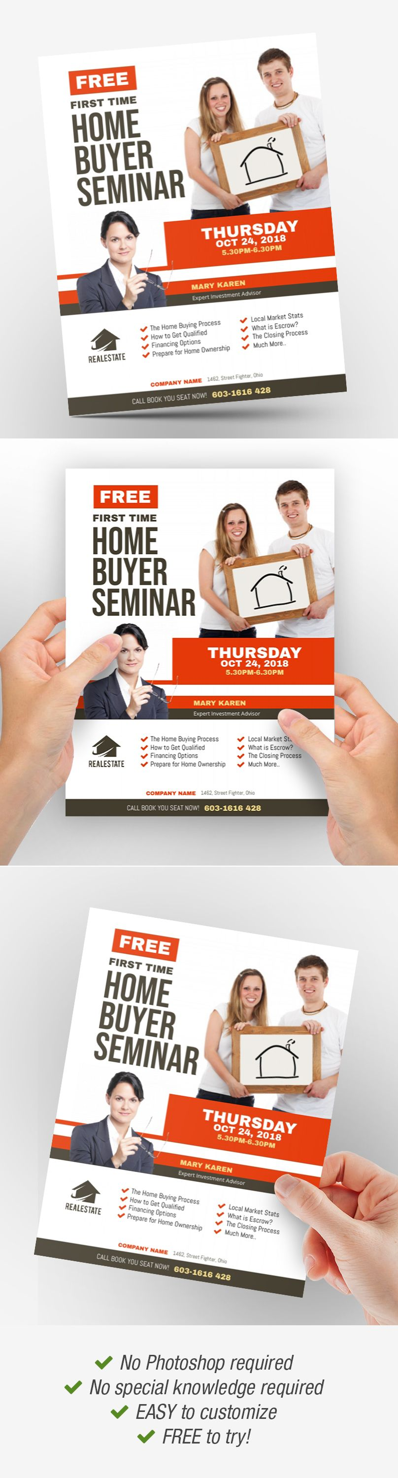 First Time Home Buyer Seminar Flyer First Time Home Buyers Real Estate Flyers Seminar Home buyer seminar flyer template