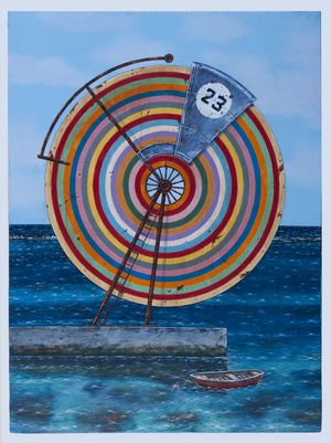 """Rainbow Wheel at Deep Dene No. 23"" by Graham Foster, 2015. Acrylic on wood. For sale on lushergallery.com. #islandart #lushergallery"