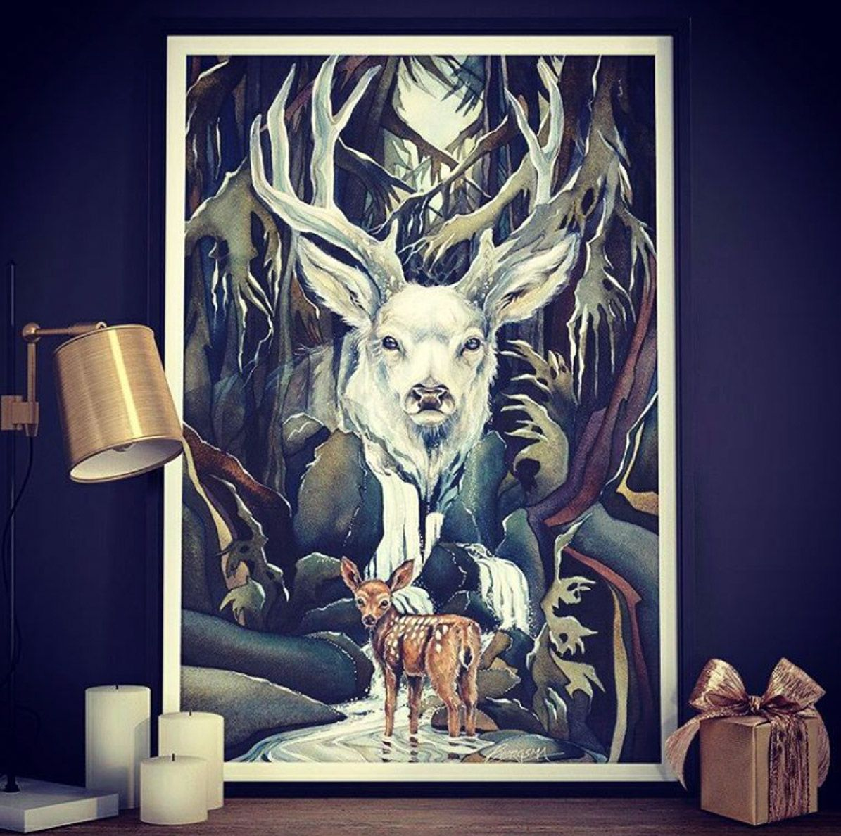 """Wild heart"" by Jody Bergsma  #christmas #giftideas #wallart #decoration #wandbild #homesweethome #illustration #deer #stag #antlers #forest #nature #posterlounge #art"