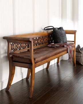 Leighton Wood & Leather Settee traditional benches