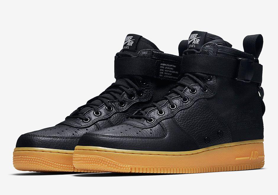 Nike Air Force 1 Enfermedad De Las Encías Negro Mediados
