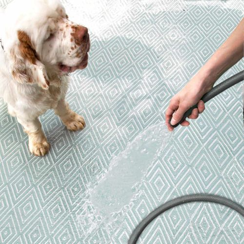 Diamond Light Blue and Ivory Indoor Outdoor Rug from PoshTots