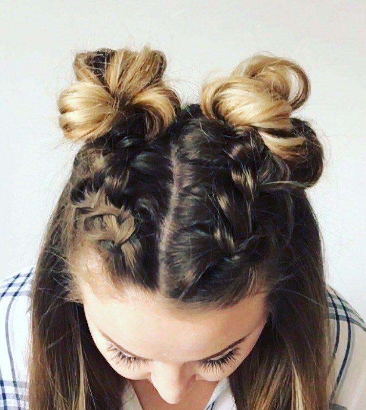 Double Dutch Braid Buns Half Up Hairstyle Cassie Scroggins Short Hair Styles Braided Hairstyles Hair Styles