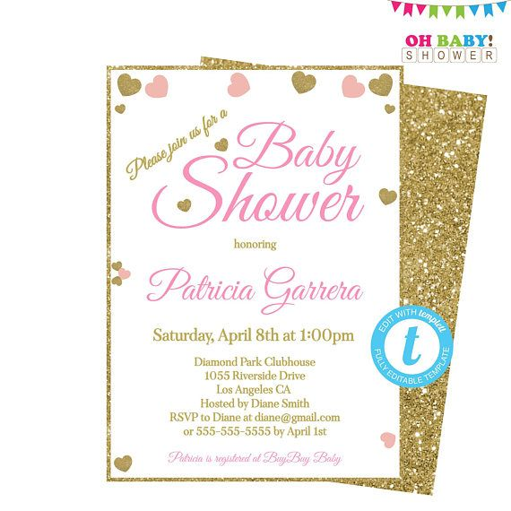 Pink and Gold Baby Shower Invitation Invitation Template Baby - Editable Baby Shower Invitations
