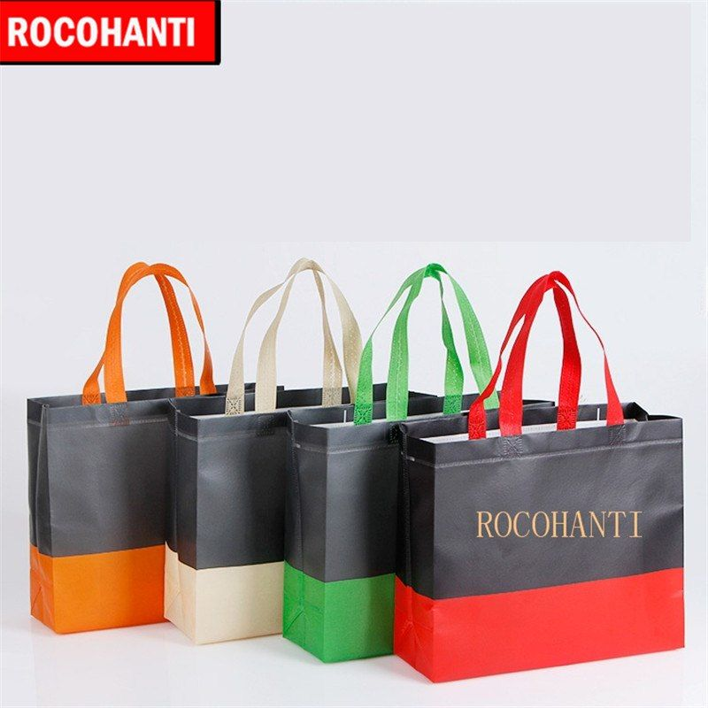 50x NEW Design Double Color Stripe Style Non Woven Bag Shopping Bags  Reusable Custom Printing Company Logo Promotional Tote Bags 9b3cc6b5494c4