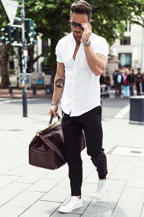 White Shirt With Black Pants And White Shoes Men S Fashion