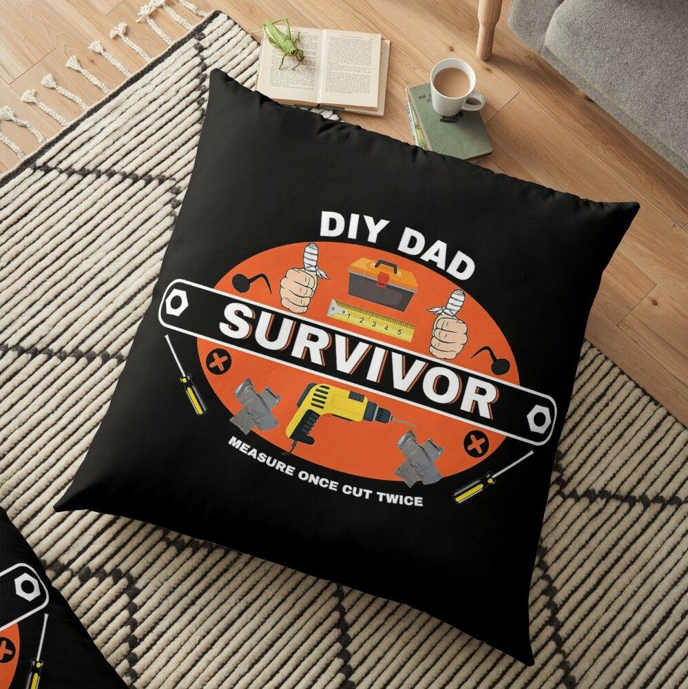 'DIY Survivor - Home Improvement - Funny DIY - Dad - Hubby - Boyfriend - Self Build - Bad DIY' Floor Pillow by happygiftideas