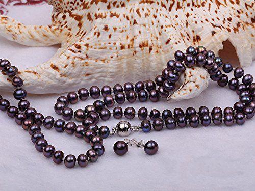 JYX Classic 7-8mm Dark-purple Cultured Freshwater Pearl Necklace Bracelet Earrings Jewelry Set ijTQFJ