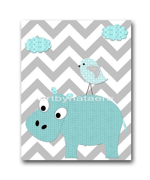 Gray Teal Hippopotamus Wall Decor Instant by nataeradownload