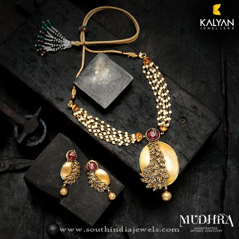 ffa90c980 Gold Designer Necklace from Kalyan Jewellers ~ South India Jewels