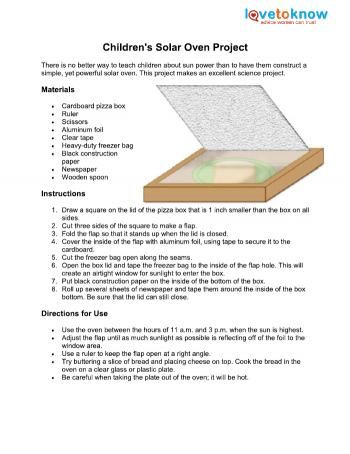 Childrens Solar Oven Project  Education    Solar Oven