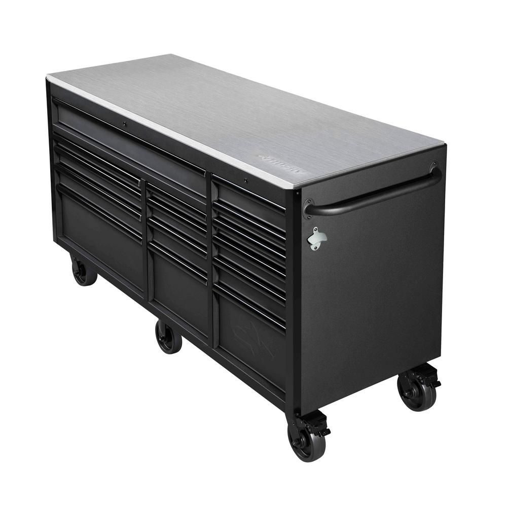 Husky Heavy Duty 72 In W 15 Drawer Deep Tool Chest Mobile Workbench In Matte Black With Stainless Steel Top And Dual Locks H72mwc15dl The Home Depot In 2020 Tool Chest Mobile Workbench Workbench