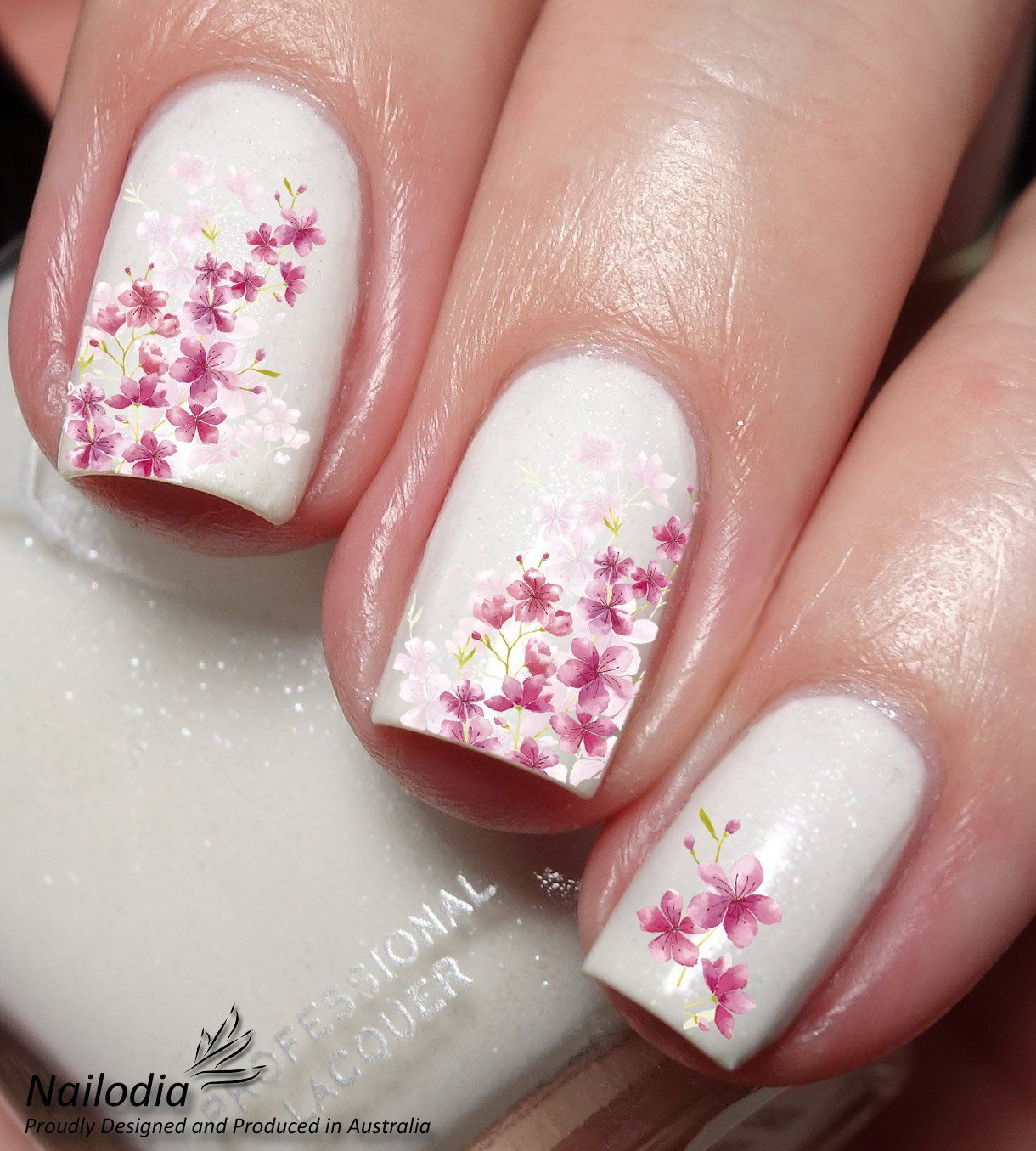Cherry Blossom Flower Nail Art Sticker Water Transfer Decal By Nailodia On Etsy Cherry Blossom Nails Art Cherry Blossom Nails Cherry Blossom Nails Design