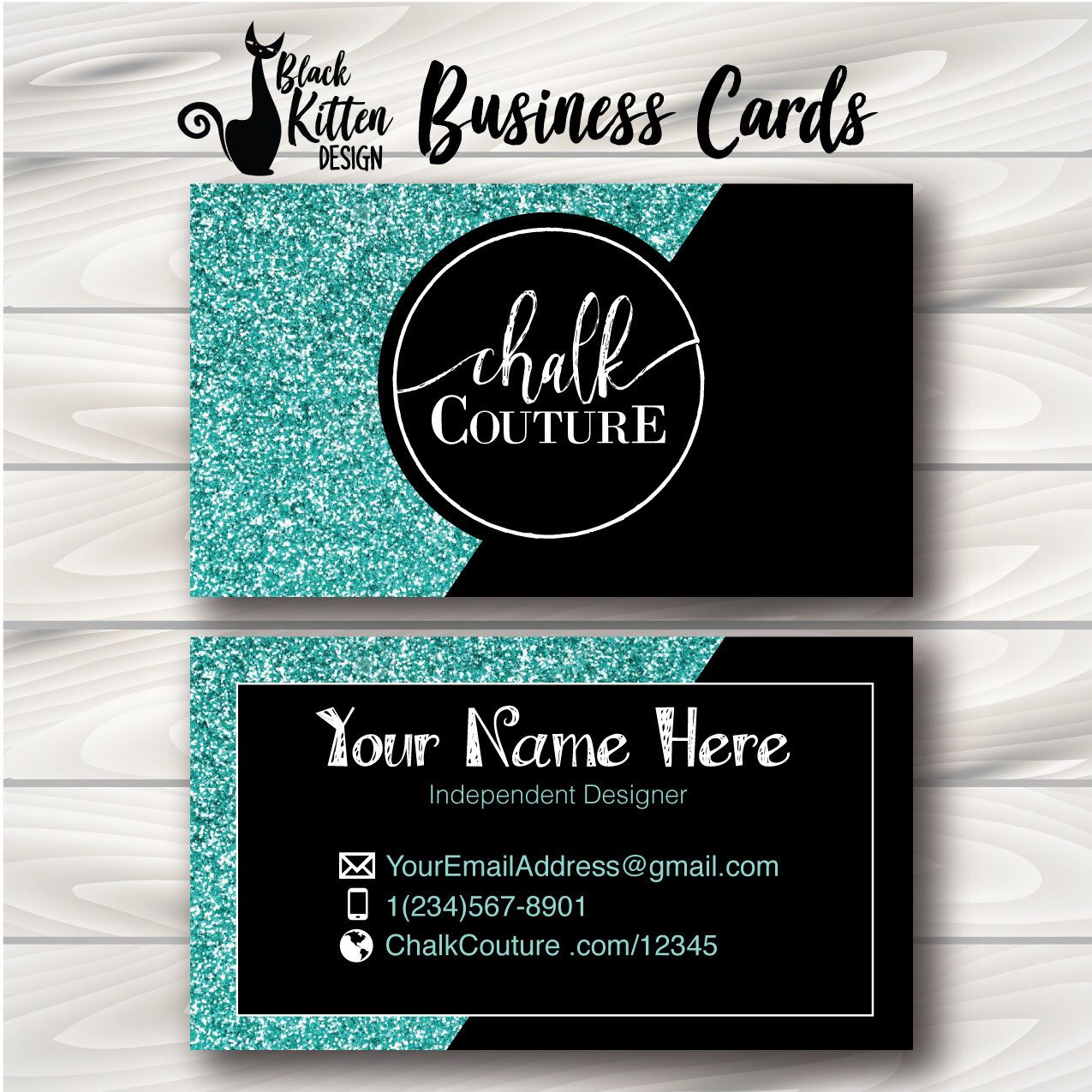 Chalk couture business cards pink glitter chalk couture