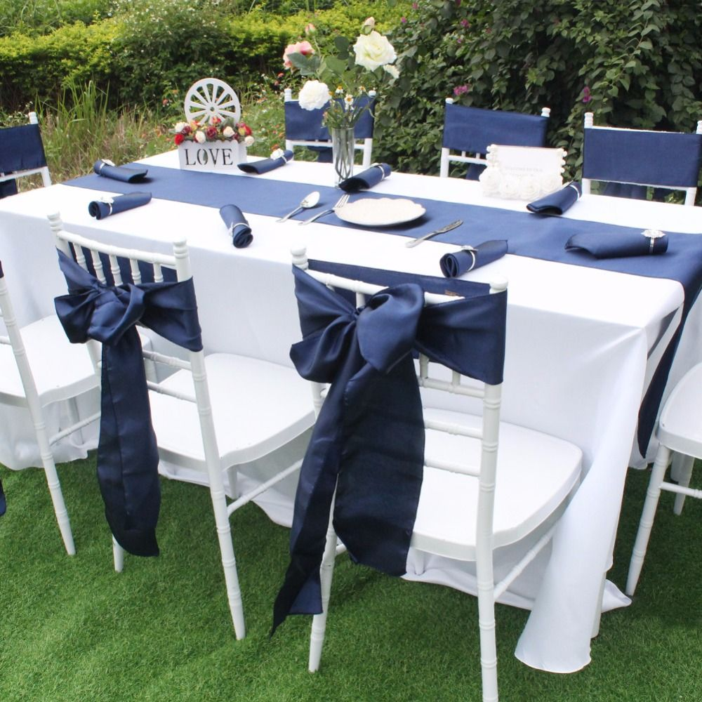 Navy Satin Sash Is Most Preferable For Wedding Special Event Our Satin Sashes Are Made From High Quality Mate Dining Decor Chair Sashes Chair Covers Wedding